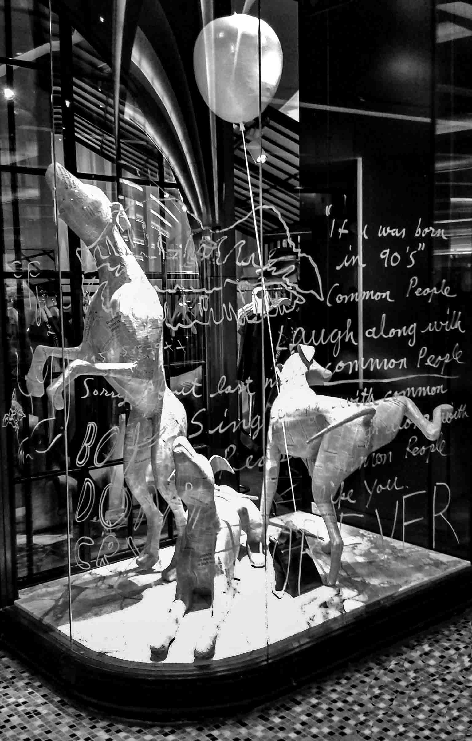 The image shows a humorous sculpture of three dogs and a balloon.  The sculpture stands on a low plinth in a shop window. On the black background wall words and messages are written.