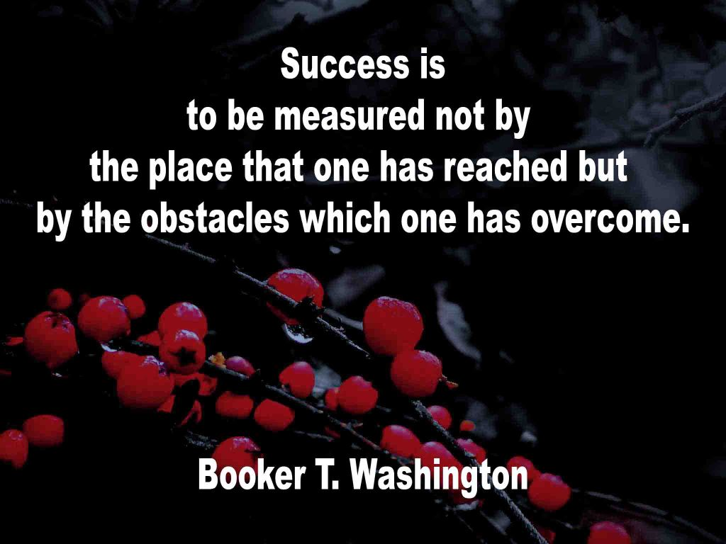 The image shows a spray of red berries on a black background on which a quotation by Booker T. Washington is written.