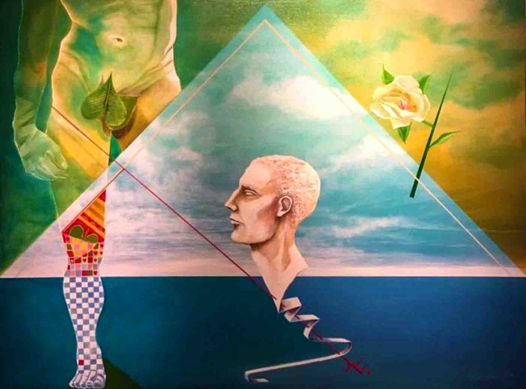 The image shows a painting by Rene Alvarado that is inspired by the iconic characters of The David sculpture and Cupid and their attachment to the romantic tactics of humans. A large triangle in the top two thirds of the painting depicts a blue sky and white clouds held within a rectangle of green sky and yellow clouds. In the centre is a marble head. To the left is the torso of a male nude figure. To the right is a white rose. A red arrow links the torso to the head.