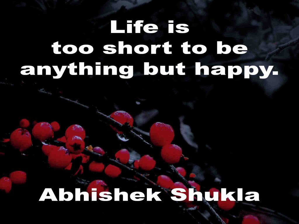 The image shows a spray of red berries on a black background on which a quotation by Abhishek Shukla  is written. It speaks of life being too short to be anything but happy.