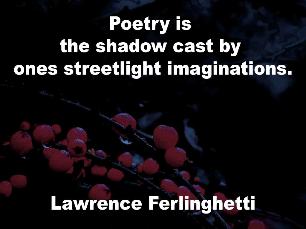 The image shows a spray of red berries on a black background on which a quotation by Lawrence Ferlinghetti is written. It speaks of poetry being the shadow cast by ones streetlight imaginations.