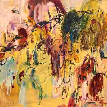 """The image depicts an abstract painting titled The Gardener by Marisa R Ng. The colour palette is very subdued and reminiscent of earthly hues.It inspired by the movie """"the secret garden""""."""