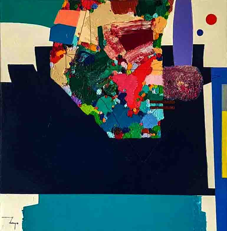 The image depicts a painting titled Poemby the artist Jucivaldo Tavares. The work is a nabstract painting.  with vibrant colours, contrasts impermanent symbiotic effort. Broken up and irregular, with straight lines and curves delimiting the spaces filled for tones that stir up the observer to look for symmetry, which are present only in discrete appearances of geometric standard forms, surprising the set of lines that exhibit its rebellious proper life, trajectory freedom, but loads in itself the embryo of the imminent reorganization.The use of the relief in the picture  reminds one of the vibrant movement of youth, like running lights, but can also lead to the decrepitude of ageing in disfiguring wrinkling.The image supports the poem An Attempt At Unrhymed Verse written by the poet Wendy Cope.