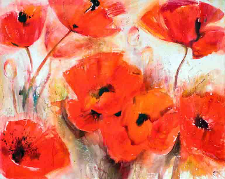 The image shows a close up painting of a small group of scarlet poppies painted by the artist Elena Starostina. The work supports a poem entitled The Poppies by the poet Richard Church.