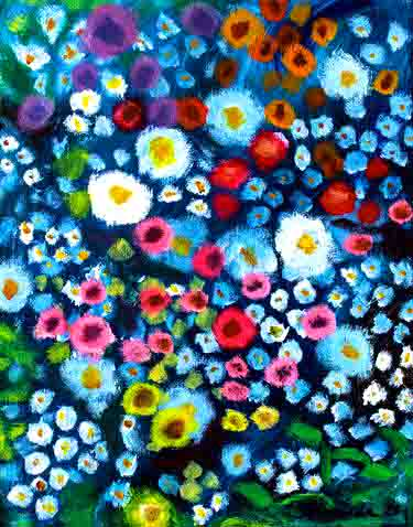 The image depicts a painting titled The Night the Gardener Came by the artist Amanda Quach. The work is a semi-abstract painting of red, white, pink, purple, yellow. and blue flowers on a dark background pf leaves and shadow.  This is an invented memory of a romantic evening of meeting someone in a garden under the moon. Its meant to bring a feeling of nostalgia and arouse the fragrance of the flowers. It' demonstrates how fake memories can be just as impactful as real ones,