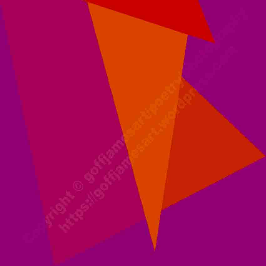 The image depicts a painting titled Absent-minded 1 (Orange and Purple) by the artist Goff James. The work is a minimalist abstract painting. depicting three overlapping orange triangles set against a squarw  background.purple