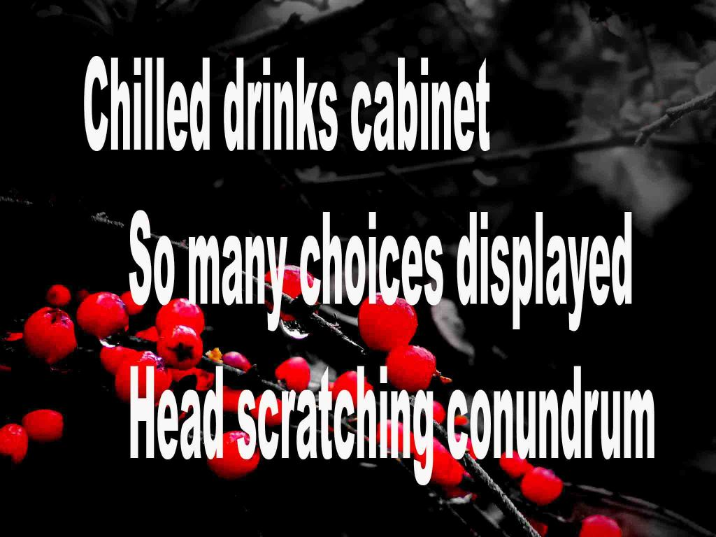 The image shows a spray of red berries on a black background on which a haiku titled Chilled Drinks Cabinet is written. The poem speaks of a chilled drinks vending machine having so many choices that it causes a head scratching conundrum.