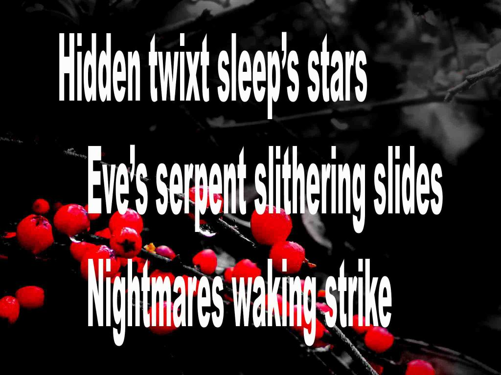 The image shows a spray of red berries on a black background on which a haiku titled Hidden Twixt Sleep's Stars is written. The poem speaks of sleep's stars, a slithering serpent and waking nightmares.