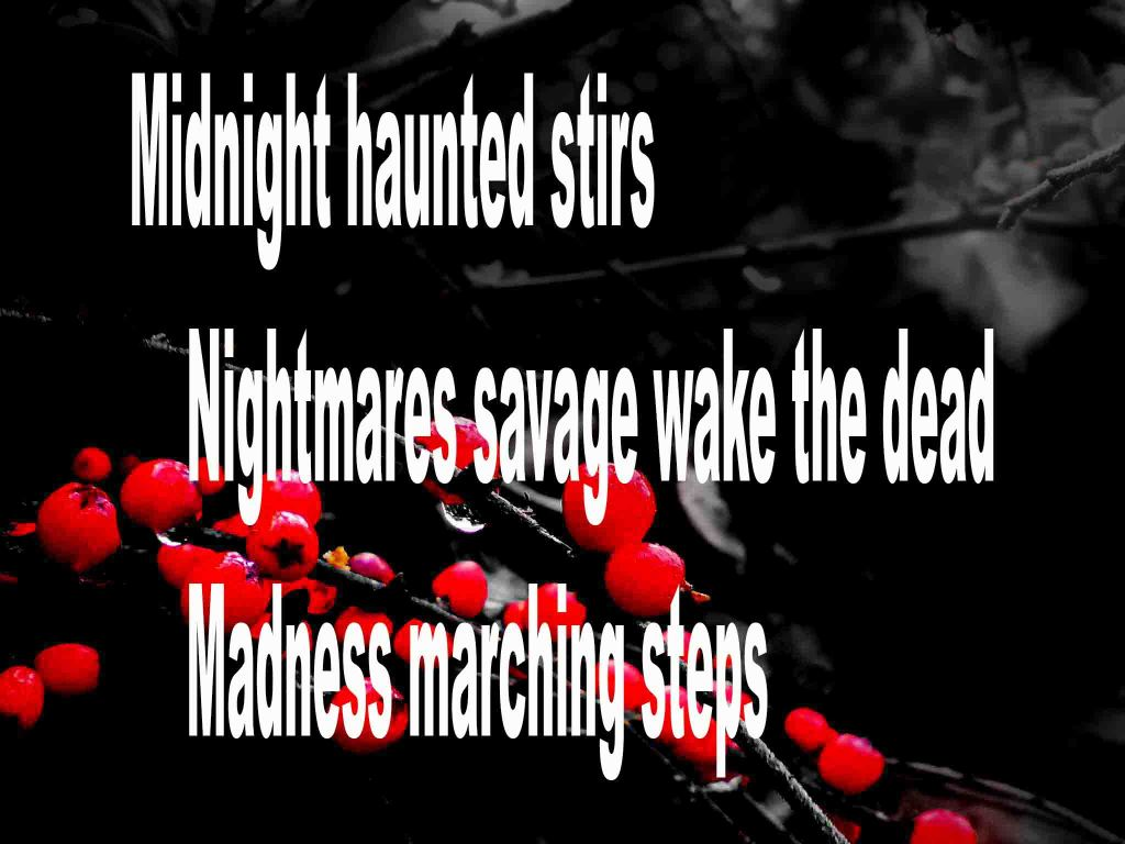 The image shows a spray of red berries on a black background on which a haiku titled Midnight haunted Stirs is written. The poem speaks of night being hauned, savage nightmares and madness on the march.