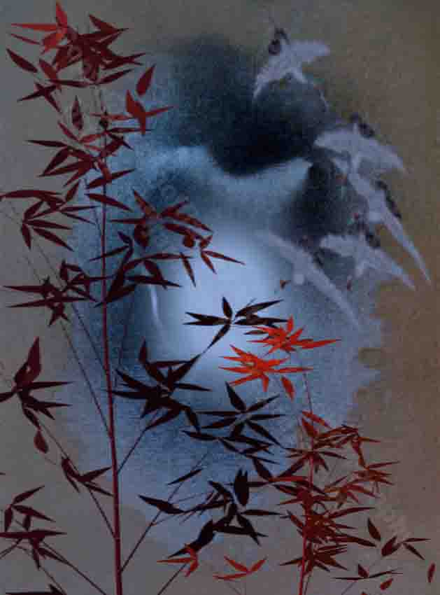 The image is a landscape painting depicting a flock of cranes flying at night. The background is composed of moonlight diffusing through the clouds. Two dark leafed bamboo trees make up the foreground.