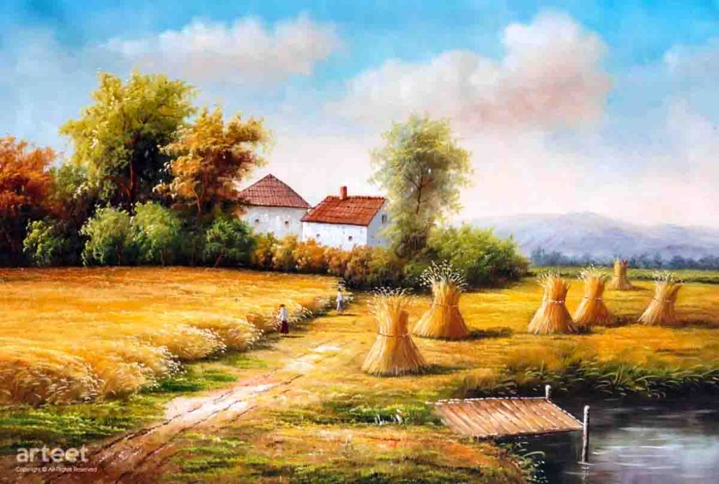 The image is a painting of a cornfield at harvest time by the artist Zlatko Horvat. Stooks of corn stand waiting to be collected. In the background there is a hedge of trees behind which stands the white farmhouse and another building. In the distance gentle rolling hills rise beneath a blue and clouded sky. The painting supports the poem  Hurrahing in Harvest by Gerard Manley Hopkins.