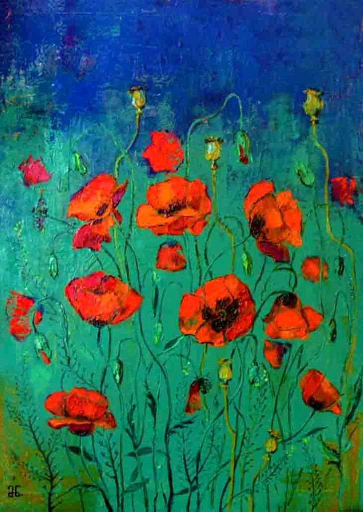 The image shows a painting titled Poppies by Marina Nairashvili. In the foreground is a field filled with wild red poppies that blend into a dark blue sky in the background .