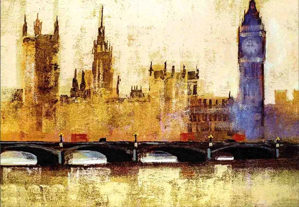 The image is a semi-abstract painting of Westminster Bridge and the Houses of Parliament in London by the artist Colin Ruffell. The composition is imbued with subtle softly lit hues of gold and purple and supports William Wordsworth's poem Composed upon Westminster Bridge.