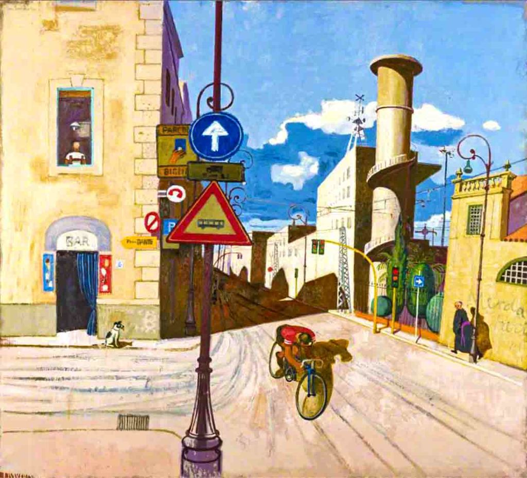 The image shows a painting by the artist Leon Francesco Morrocco with the title The Cyclist, Via Giolitti. The image shows a lone cyclist, on a bright sunny day, riding down a narrow empty street in Rome.