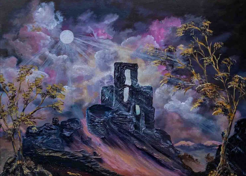 The haunting image depicts a painting of the moonlit ruins of Corfe Castle by Marja Brown. In the foreground on either side of the castle are two trees with a path leading up the hill to the castle. The background is shrouded in low clouds.