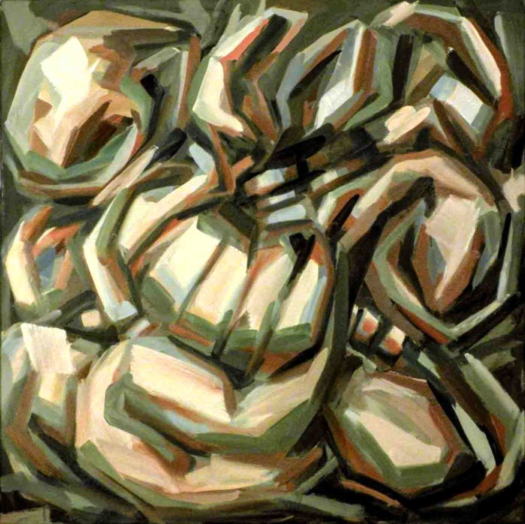 The image depicts a painting titled  Op.500 MMXXIby the artist Raffaello Eroico. The abstract work is painted in a very limited colour palette of pale green and brown hues. The abstract rock like serpentine image coils around the canvas in a state of apparent metamorphosis of love.