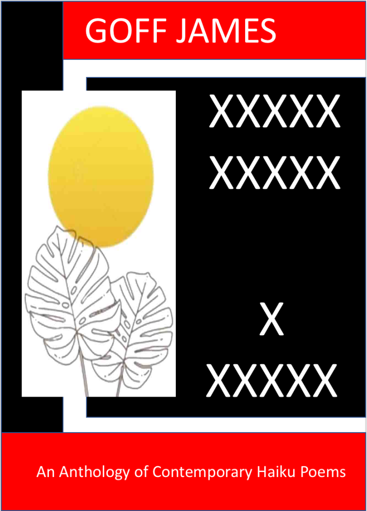 The image depicts a design for the front cover of an anthology of poetry. The background is made uu of a variety of black, red and white rectangles on which is superimposed an illustration composed of a gold disc beneath which are the black outlines of two large palm leaves.