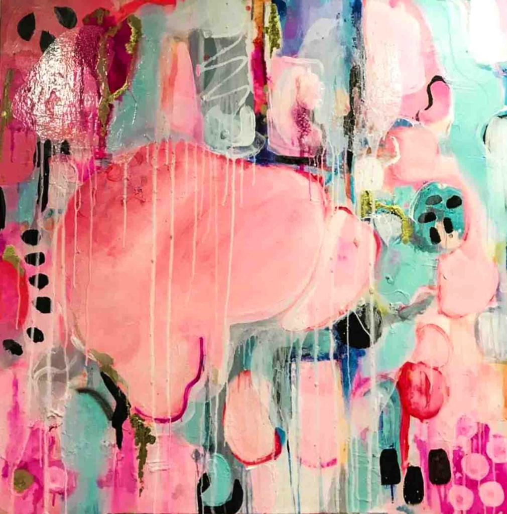 The image depicts and abstract painting titled Love, Dreams and wonder  by Melissa LaBozzetta, A beautiful blend of  red, pink, blue and green acrylics and inks with layers and layers for strength and texture. Inspired by the artist's two most favourite places, Italy and France.