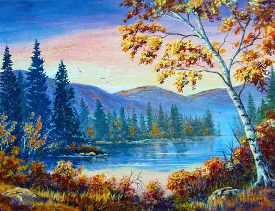 The image depicts a painting titled September Sunrise by the artist Ernie Komarek. The work is a landscape painting of a lake in the centre of the composition edged with rising aspen trees. Behind the trees a series of rolling hills rise  bathed in the glow of September's sunrise. In the foreground are found a row brown leafed bushes that stand in front of the lake. To the right behind a small boulder a white barked tree rises with its branches and leaves  creating a canopy that covers the top righthand quarter of the image.  The gold and orange colours of the foliage are illuminated and the morning fog lifts as the sun rises over the still waters of the mountain lake.