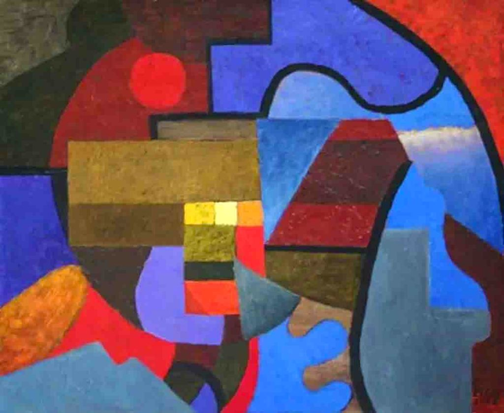 The image depicts a painting titled Music of Florence by the artist Ellis Ostrowska. The work is a vibrant abstract painting made up of various vibrantly coloured shapes. The image supports the poem Master of Music written by the poet Henry Van Dyke.