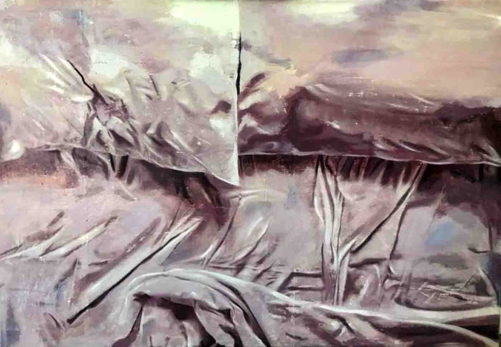 The image depicts a painting titled Emptiness by the artist Ana Golovic. The work is a monotoned semi-abstract landscape painting depicting a vast empty space painted in tones of black white and grey. The top left hand quarter of the painting appears a torn segment coming away from the canvas. The work is imbued with the sense of a state of anxiety and loneliness.