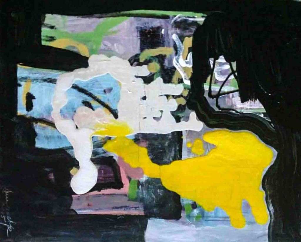 The image depicts a painting titled The Story of a Secret Love by the artist Dumitrache Ciprian. The work is an abstract painting composed of fragmented shapes superimposed one upon each other in colours of yellow blue, green white and grey on a black background..