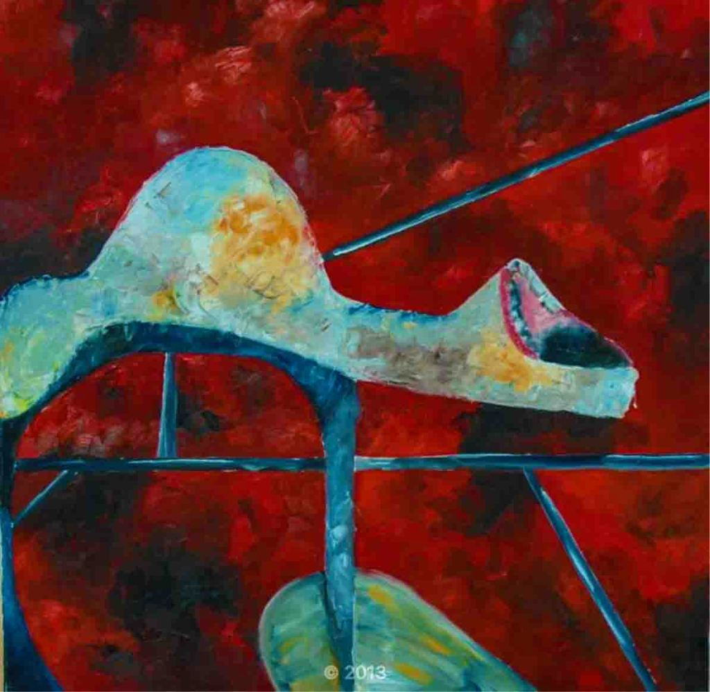 The image depicts a painting titled Heart Broken III by the artist Cathy Wouters. The work is a brutal abstract sombre figurative painting. It shows a screaming human form impaled and isolated within a geometrical structure set against a clouded blood red background.