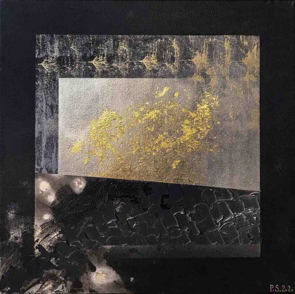 The image depicts a painting titled Mystery by the artist Sviatlana Petushkova. The work is an abstract painting painted in tones of black, gold and white. The work depicts a night landscape, the northern lights and a starry sky. above a textured ploughed field looks textured with stars reflected in water.