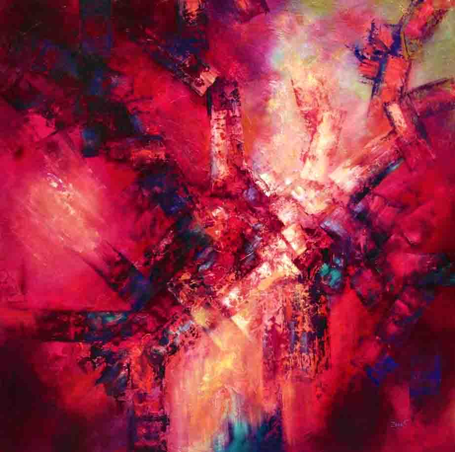 The image depicts a painting titled Desire by the artist Sandra Zekk. The work is a fiery abstract painting. which capture the energy and strength of desire through the frnzied application of colour, abstract lines and texture which represents as is the substance of desire itself. The artist has used saturated colours  such as red, orange, yellow with hints of green and blue across the whole canvas.The shades of blue represent the rational part of the mind that seeks to contain the desire. While the light point in the middle of the canvas created with light and bright colours represent the glory once desire has been fulfilled.