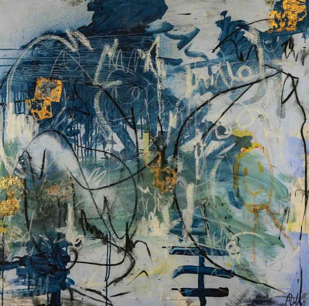 The image depicts a painting titled  Nightmare by the artist Alyssa Dabbs. The work is an expressionist gestural abstract work. The painting is bold and expressive evoking nightmarish fearful feeling in the viewer. The composition is filled with dark sombre hues of blue, black and yellow  on a grey background and imbued with a variety textures, shapes and brush marks.