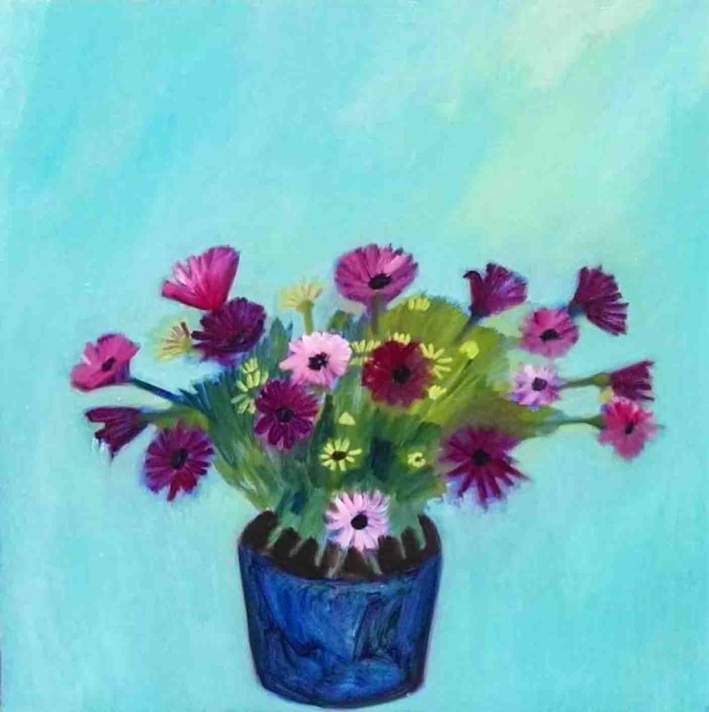 The image depicts a painting titled  Purple Flowers by the artist Stefania Eucalipti. The work is a painting of a blue vase filled with purple daises set against a turquoise background. Th e work is very poetic in style.