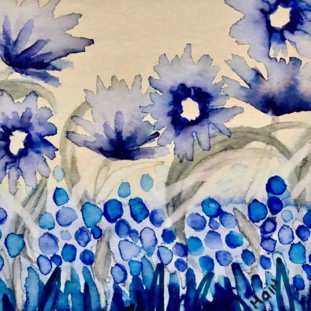 The image is a painting of blue flowers on a white background and supports the poem Deeply Me  by artist and poet Mairi