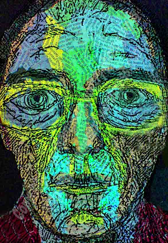 The image is a mixed media painting of full face front view portrait of a man's face. A limited colour palette of yellows, blues, greens, black and browns has been used by the artist. The painting is created on a background of collaged newspaper. The face is textured using ink, pencil and charcoal lines.