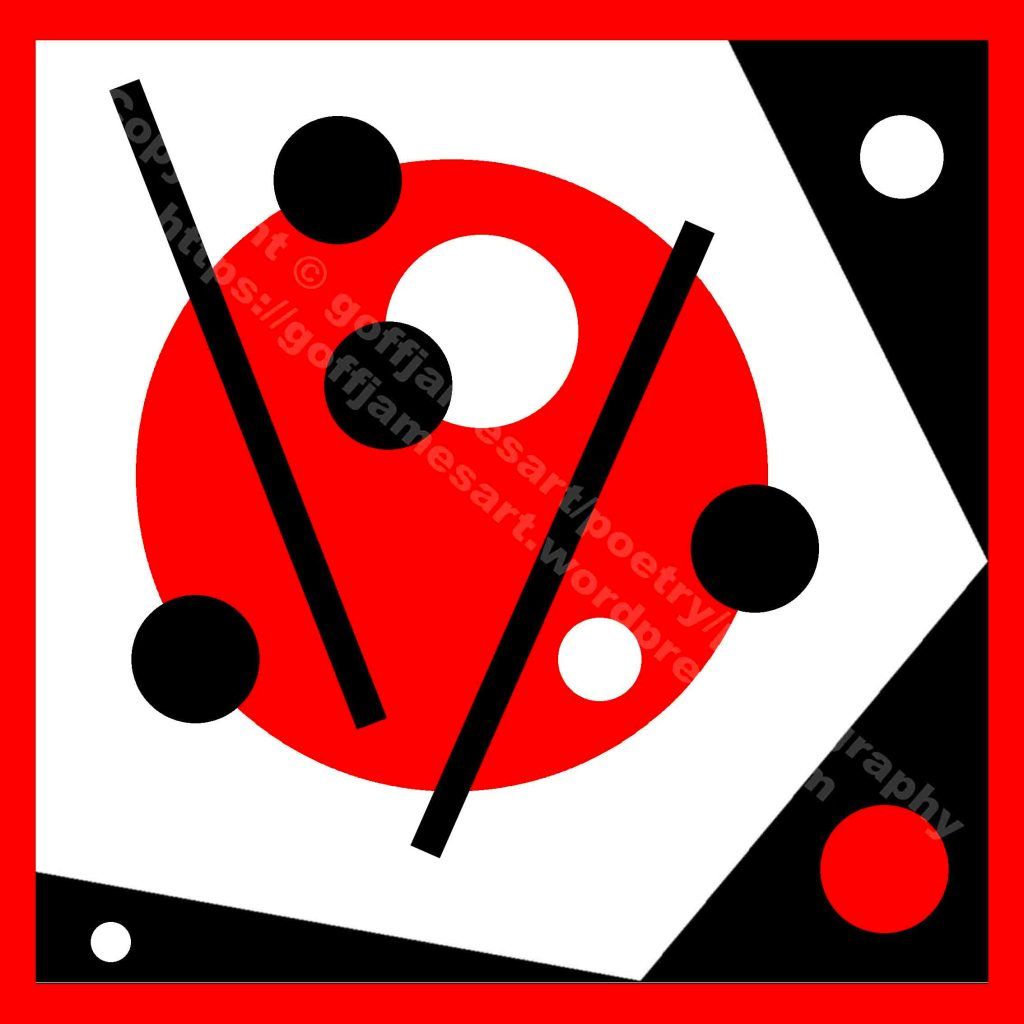 The minimalist image depicts an abstract composition made up of a set of varying geometric black, red and white shapes placed on a red background. A large white pentagon, set on a black square, holds a large red circle with four smaller black and two white circles. The large red circles is cut by two thick black lines that separate the smaller circles. Two sall white circles and one small red circle surround the white pentagon and are set on the black square.