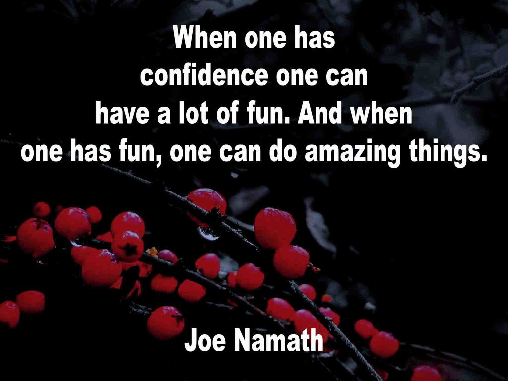 The image shows a spray of red berries on a black background on which a quotation by Joe Namath is written. It speaks of wnen one has confidence one can have a lot of fun; and, when one has fun, one can do amazing things.