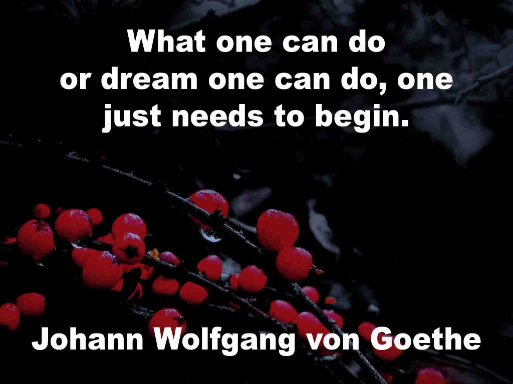 The image shows a spray of red berries on a black background on which a quotation by Johann Wolfgang von Goethe is written. It speaks of what one can do, or dream one can do, one just needs to begin.