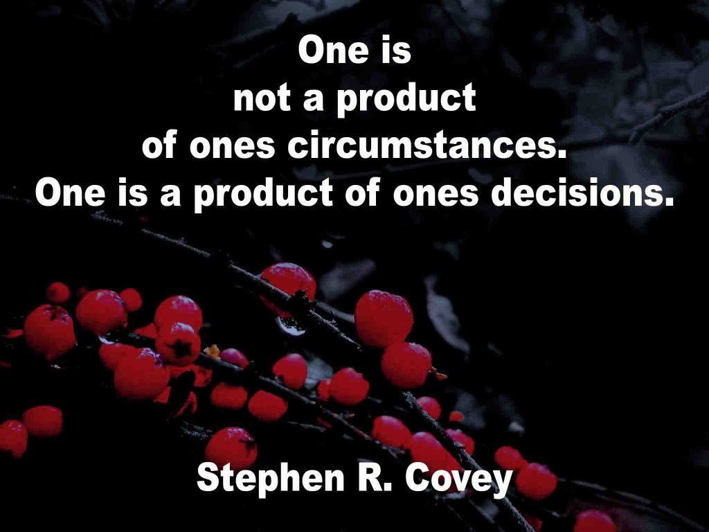 The image shows a spray of red berries on a black background on which a quotation by Stephen R. Covey is written. It speaks of one not being a product of ones circumstances but a product of ones decisions.