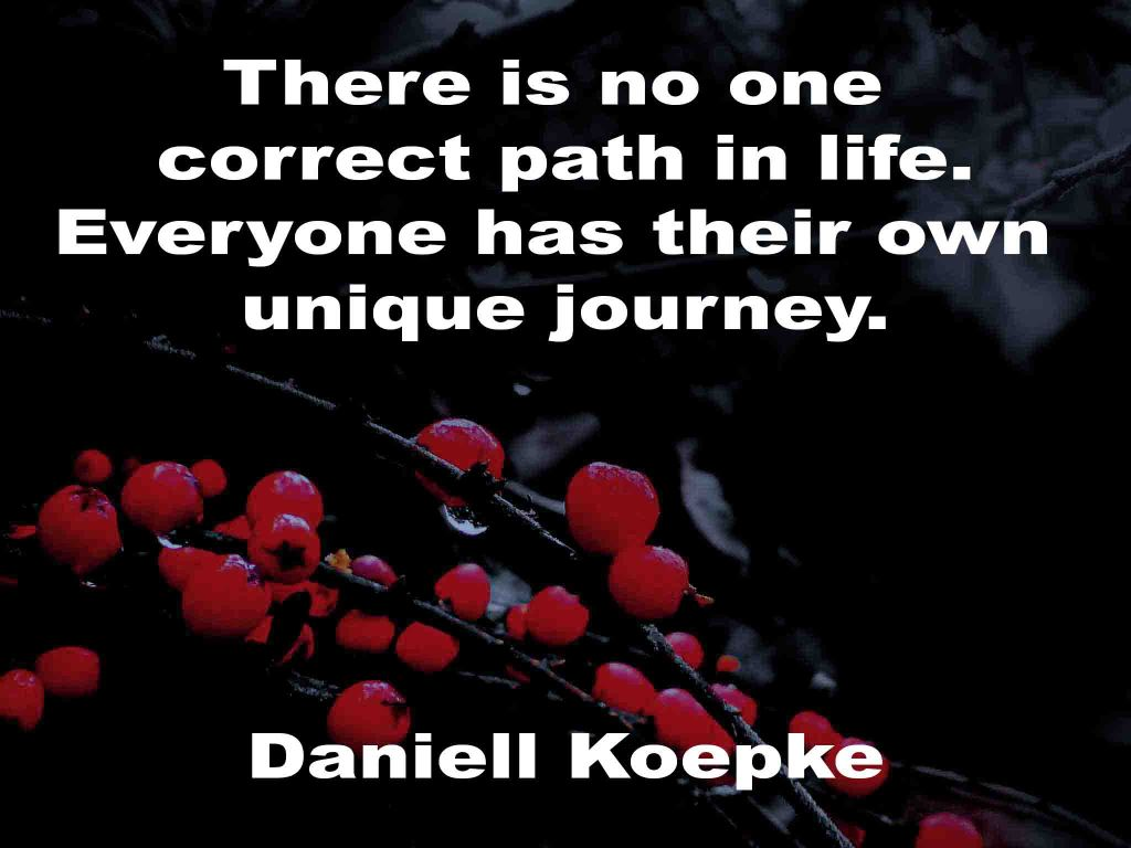 The image shows a spray of red berries on a black background on which a Life Box quotation by Daniell Koepke is written. It speaks of there being no one correct path in life; but, that everyone has their own unique journey.