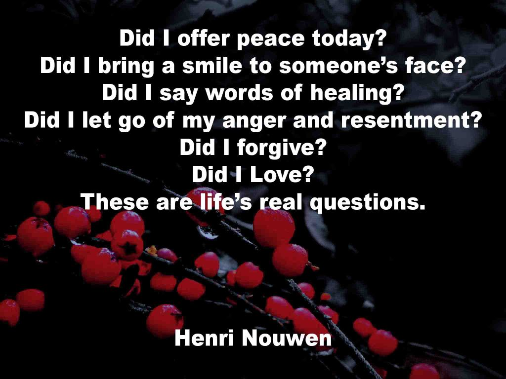 The image shows a spray of red berries on a black background on which a Life Box quotation by Henri Nouwen is written. It speaks of life's real questions that one needs to ask oneself.