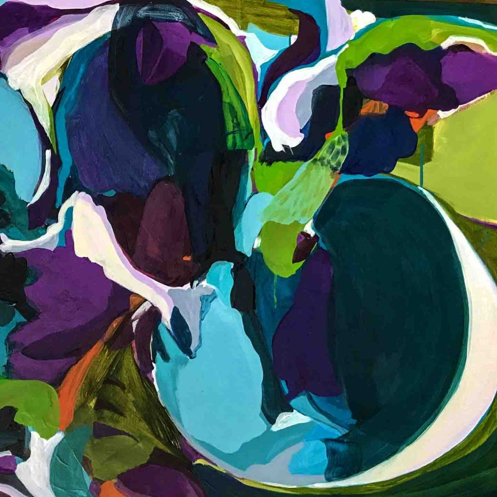 The image depicts a painting titled Moonbath  by the artist Stacy Gibboni. The work is an abstract moonlit landscape painting. The image supports the poem Moonlit Apples  written by the poet John Drinkwater.