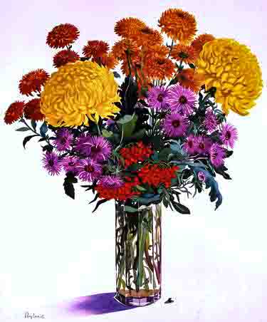 The image depicts a painting titled  October Flowers by the artist Christopher Ryland. The work is a painting of autumn flowers in a hexagonal glass vase. Two different types of chrysanthemum, the big yellow blooms and smaller orange flowers, mauve coloured Michaelmas daisies, some vermillion pyracantha berries, a very small leaf lies to the bottom. It is painted against a white background.