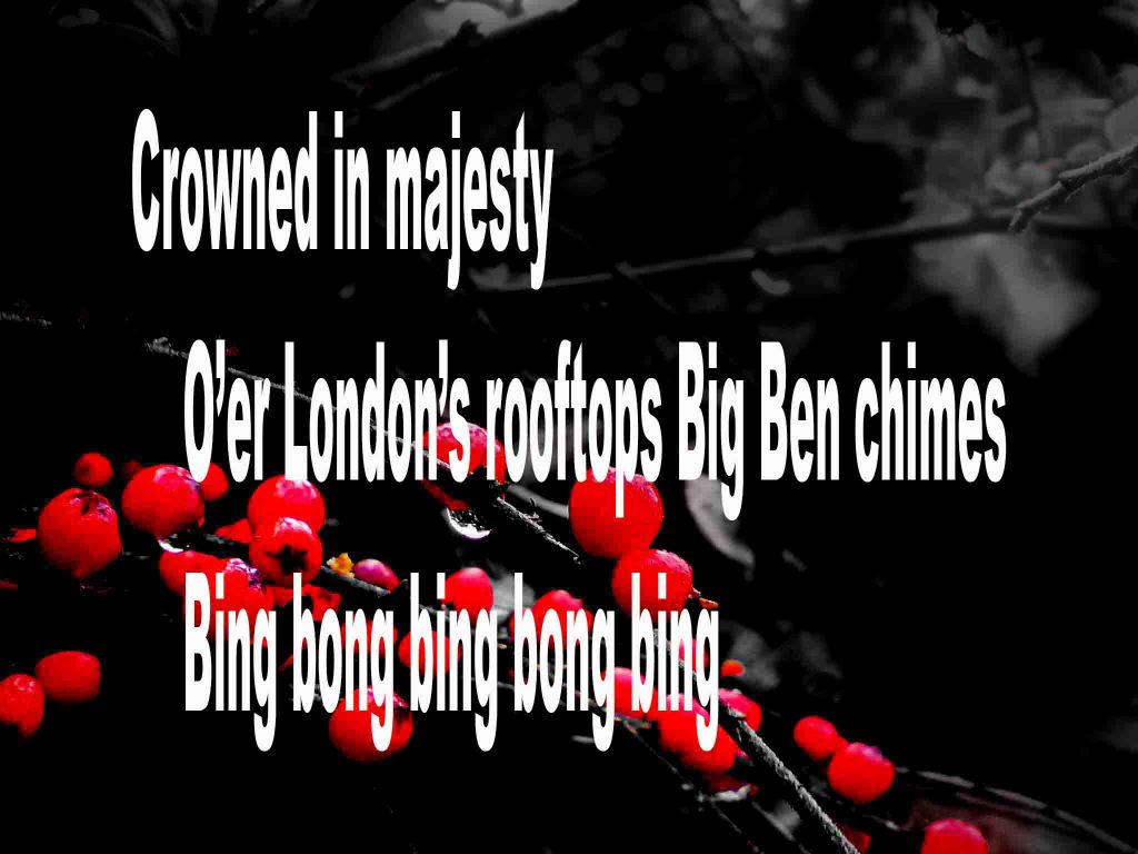 The image shows a spray of red berries on a black background on which is written a senryū poem titled by the poet Goff James. The poem speaks of Big Ben being crowned in majesty and chiming over London's rooftops.