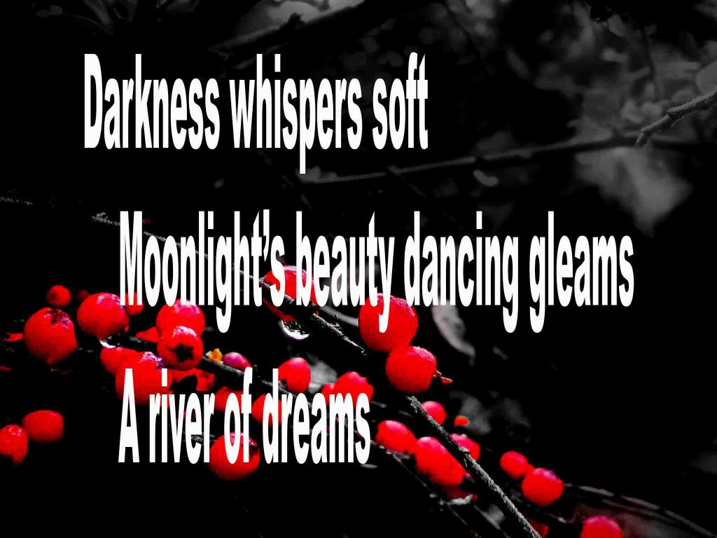 The image shows a spray of red berries on a black background on which a haiku poem titled Darkness Whispers Soft by the poet Goff James is written. The poem speaks of darkness whispering soft, moonlight's beauty dancing and a river of dreams.