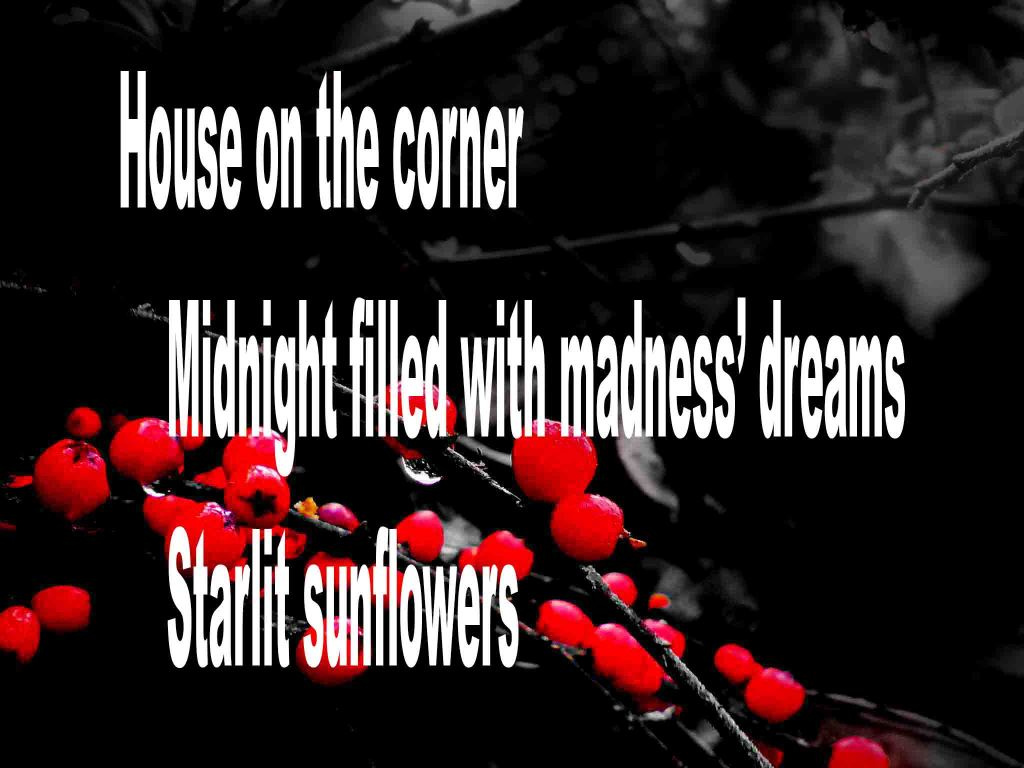 The image shows a spray of red berries on a black background on which is written a senryū poem titled House on the Corner by the poet Goff James. The poem speaks of a house on the corner of a street, being filled with madness' dreams and starlit sunflowers.