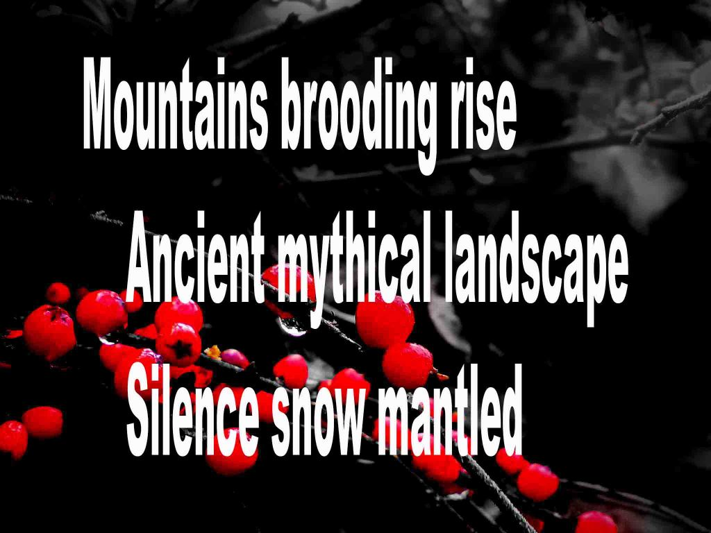 The image shows a spray of red berries on a black background on which is written a haiku poem titled Mountains Brooding Rise by the poet Goff James. The poem speaks of mountains, an ancient mythical landscape and silence mantled in snow.