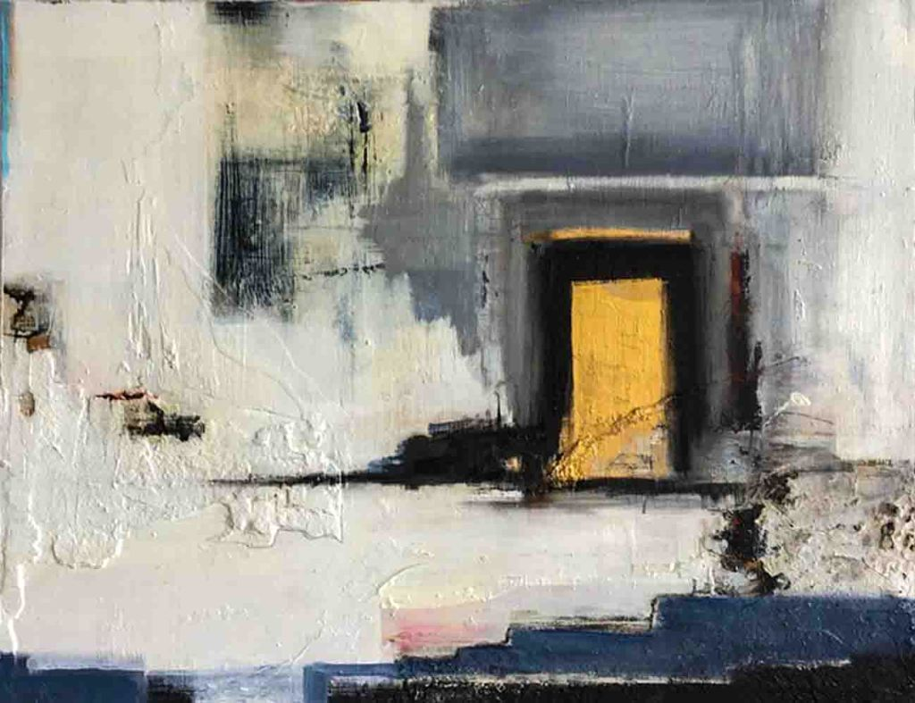 The image depicts a painting titled The Golden Door by the artist Carol Graslan. The work is a vibrant semi-abstract landscape painting. The work shows a golden door set in a white and grey wall surrounded in dark shadows. The image supports the poem On the Other Side of the Door  written by the poet Jeff Moss.