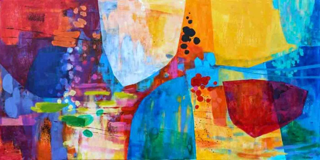 The image depicts a painting titled River of Dreams by the artist Anna Masiul-Gozdecka. The work is a vibrant abstract painting.Translucent shapes, like crystals, hang in a magical, colourful space.The painting is like a river journey, full of wonderful surprises.