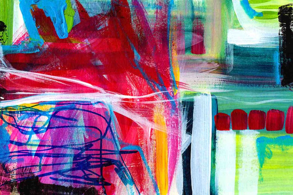 The image depicts a vibrant colourful abstract painting titled Circadian Rhythm 3 by the artist Linda Woods.