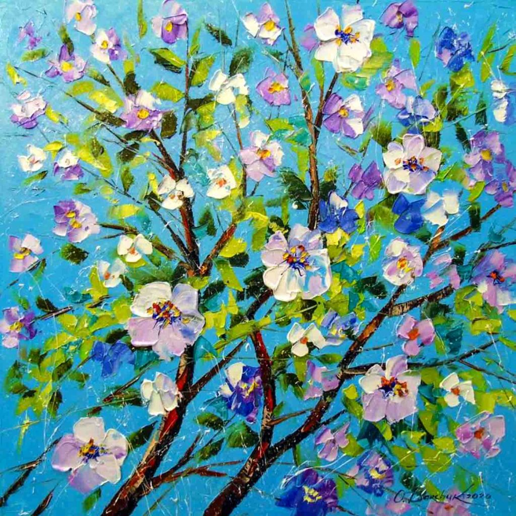 The image depicts a painting titled Apple Blossom by the artist Olha Darchuk. The work is a  realist painting of the upper branches of an apple tree in blossom set against a blue background. The image supports the poem To Blossoms written by the poet Robert Herrick.