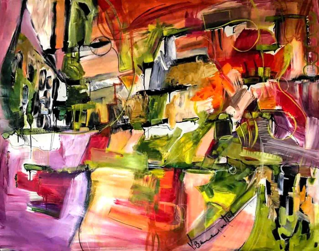 The image depicts a painting titled Music by the artist Vicky Barranguet,. The work is a vibrant abstract expressionist work painted live at a performance with a live jazz trio in New York City. The image supports the poem Musicians Wrestle Everywhere written by the poet Emily Dickinson.